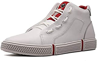 WZXSMDY Men's Casual high-top Shoes Trend Leather Boots Flat-Bottomed Sneakers (Color : White, Size : 44 EU)