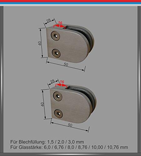 Pmc Acero Inoxidable inox V2A para tubo cuadrado plano Tubo 33,7/42,4/48,3mm Pinza de soporte para cristal Glass Clamp Mod: 0, Edelstahl / Ø42,4 / ESG 10,00 mm, 500