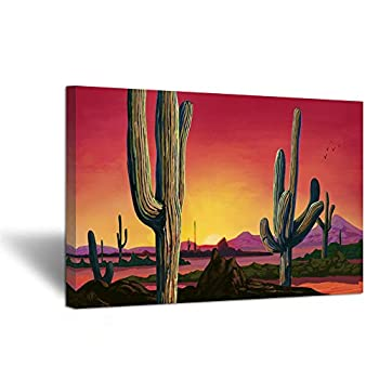 iHAPPYWALL Large Saguaros Landscape Canvas Wall Art Sunset Arizona Cactus Orange Background Sonoran Desert Picture Gallery Wrapped Canvas Art for Home Bedroom Decoration Ready to Hang 24x36inch