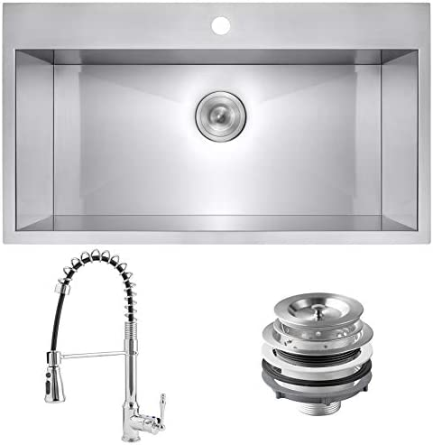 Golden Vantage Handmade 33 inch Drop in Stainless Steel Kitchen Sink 33 x 22 x 9 Single Bowl product image
