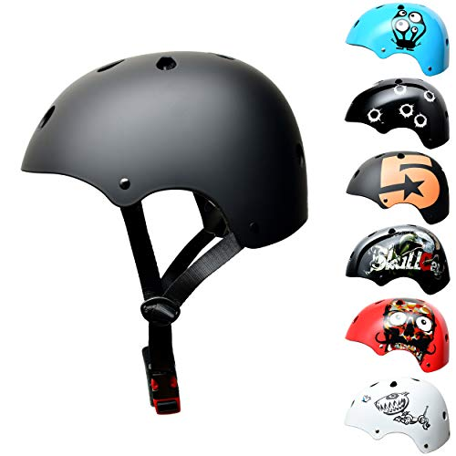 Skullcap BMX Helm - Skaterhelm - Fahrradhelm - Herren Damen Jungs & Kinderhelm, schwarz-matt, Gr. S (53 - 55 cm), Dark World