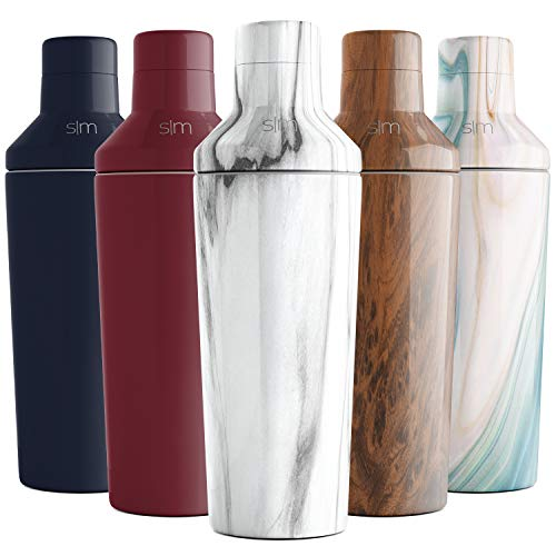Simple Modern 20oz Cocktail Martini Shaker with Jigger Lid - Vacuum Insulated Boston Stainless Steel Tumbler - Bar Drink Mixer Gift Carrara Marble