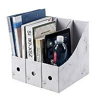 ファイルボックス 書類ケース 大容量 机上収納ボックス 収納箱 縦置き 組み立て式 多用途 雑誌 新聞収納 学校 事務用品 3個組 張り紙付き