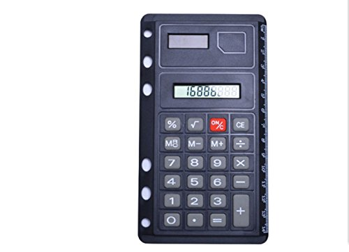 GJJ Tragbarer Studenten-Taschenrechner Soft Key-Rechner Mit Messendem Band-Multifunktions-Büro-Haushalts-Taschenrechner,Schwarz,A