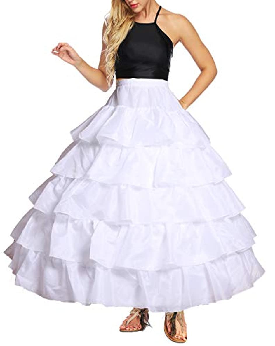 YULUOSHA Women's Crinoline Petticoat 4 Hoop Skirt 5 Ruffles Layers Ball Gown Half Slips Underskirt for Wedding Bridal Dress