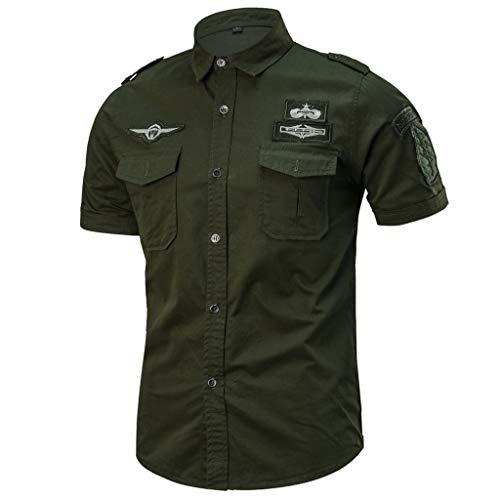 Camicia da Uomo Maniche Corte Slim Fit Estiva Stile Polo Magliette Larghe Manica Corta Modo Casuale (XXL,10- Army Green)
