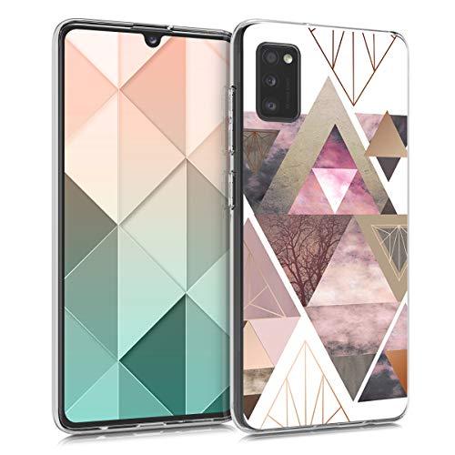 kwmobile Hülle kompatibel mit Samsung Galaxy A41 - Hülle Handy - Handyhülle Glory Dreieck Muster Rosa Rosegold Weiß
