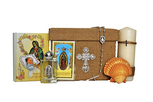 All in one Virgin Mary/Virgen Maria English Christening/Baptism Boxset Keepsake in Silver