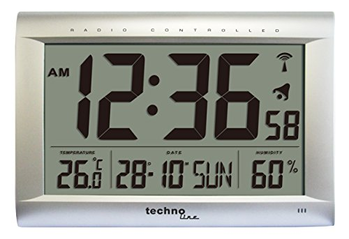 Technoline WS 8009 - Reloj de Pared controlado por Radio, Color Plateado