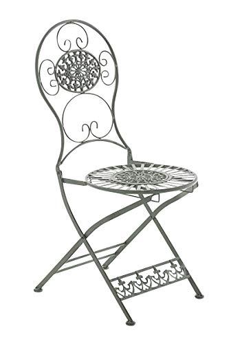 Chaise de Jardin Pliante Mani - Chaise de Balcon en Fer Forgé avec Hauteur d'Assise 45 cm - Meuble de Terrasse et pour Usage Extérieur - Couleur:, Couleurs:Antique-Vert