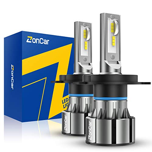 ZonCar H4 9003 LED Headlight Bulbs High Low Beam Lights with Fan HB2 Halogen Replacement LED Bulb, CSP LED Chips, 10000LM 6500K Super Bright White LED Headlights 2 Pack