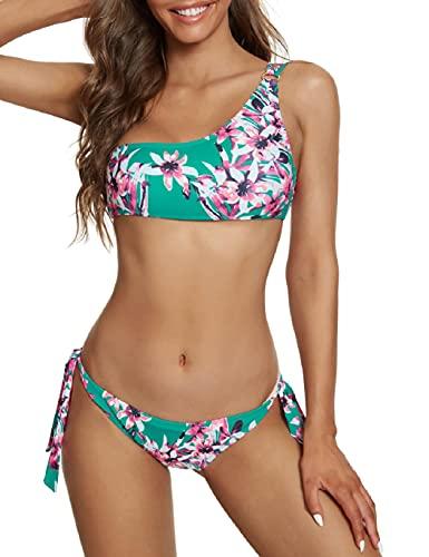 Tuopuda Traje de baño de 2 Piezas Mujer Bikini Top de Asimétrico Mujer Traje de Baño Solo Hombro Push Up Bañador Bikinis Beachwear de Playa Natación(A,L)