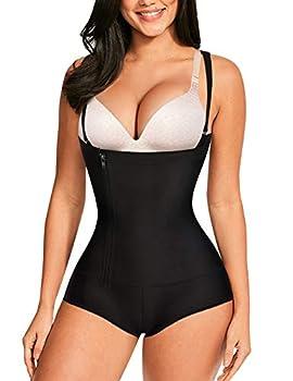 Nebility Women Waist Trainer Bodysuit Slim Full Body Zipper Shapewear Latex Open Bust Corset  S Black