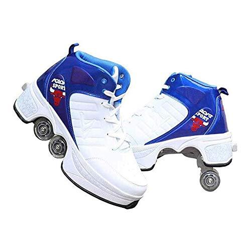 Sneakers Wielen Quad Pulley Schaatsen 2 in 1 Roller Schoenen Vervorming Dubbele Rij Vervorming Automatisch Lopen Onzichtbare Pulley