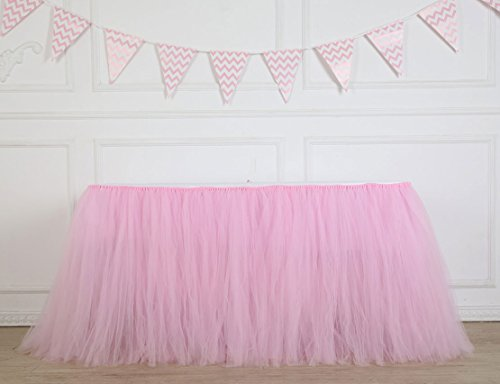 Table Skirt 1 Yard Mint Tutu Tulle Table Skirting Cover Pink Tableware For Party,Wedding,Birthday, Baby Shower (Pink)
