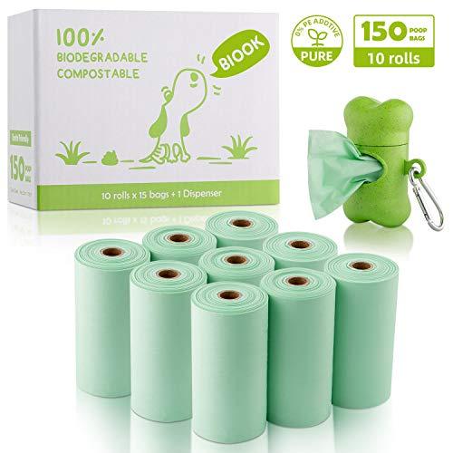 BIOOK Bolsas Caca Perro 100{1732d9793adef816a1a0f95c1acbe0f38e65b42fcdedd4b4a49bb32a856f25b0} Biodegradable con 1 Dispensador, Materiales Basados en PLA y Compostables Premium Ecológico, Fuertes, Resistente a Fugas, Sin Perfume, EN13432 y Ok Compost Certificación