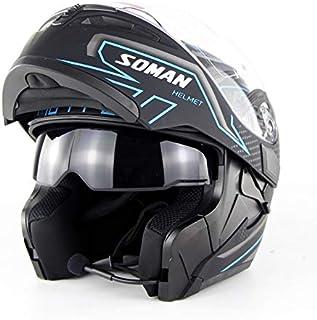 Yu-helmet Casco Bluetooth para Motocicleta, Casco Doble con Lente Abierta para Motocicleta Casco