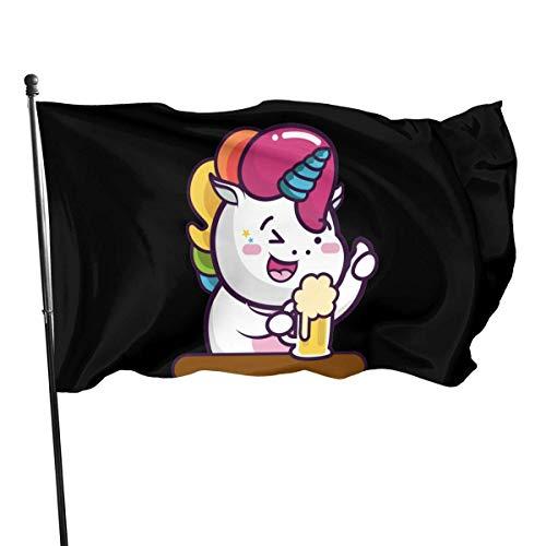 Kenice Willkommensflagge,Garten Flagge,Garten Fahne Vertikal,Verandafahne,3X5 Ft,Homosexuell Stolz Flagge Haar Regenbogen Bier Einhorn