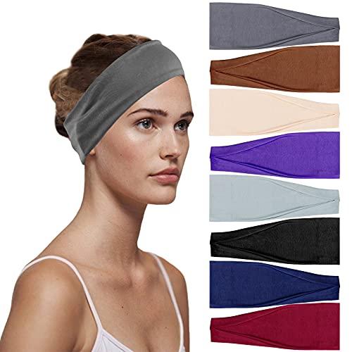 Teruntrue 8 diademas elásticas para mujer, para yoga, algodón, para el pelo, accesorios para el cabello anchos