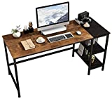 JOISCOPE Home Office Computer Desk, Study Writing Desk with Wooden Storage Shelf,2-Tier Industrial Morden Laptop Table with Splice Board,60 inches(Vintage Oak Finish)