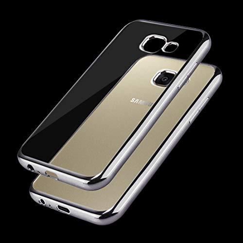 YUNCHAO Funda Protectora de para Galaxy For Samsung Galaxy A3 (2017) / A320 Marco de galvanoplastia TPU Funda Protectora Caja del teléfono Celular (Color : Grey)