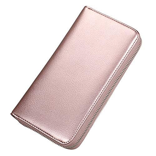 Cheerlife Große Leder Geldbörse Kreditkartenetui Handytasche RFID Schutz Reisepasstasche Scheckkarten Schlüsselbörse für Mädchen Frauen Damen (Rose-Gold)