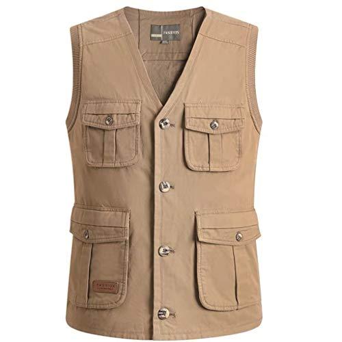 HLD Puur katoen mannen voorjaar en de zomer dunne groot formaat dikke paard clip vest meer zak vissen vest vader jurk Gilets (Color : A, Size : XL)