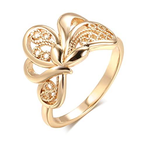 Lucky Hollow Weaving Flowers Anillos para Mujer 585 Rose Gold Étnico Novia Joyería de Boda Moda...