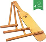 Wooden Crepe Spreader and Spatula Set - 4 Piece (7', 5', 3.5' Spreaders and 12' Wood Spatula Turner)...