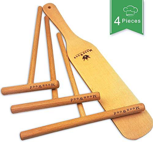 MoonWood Crepes Verteiler - Crepes Wender - 4-teilig Holz (18