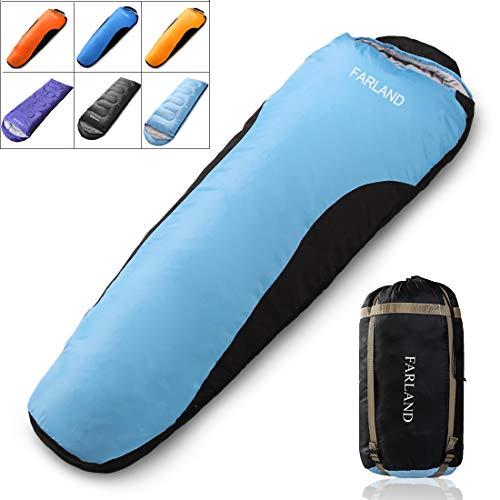 Mummy Sleeping Bag with Compression Sack,20 Degrees ℉,Portable and Lightweight for 3-4 Season Camping, Hiking,Waterproof, Traveling, Backpacking and Outdoor (Sky Blue & Black / Left Zipper, Mummy)