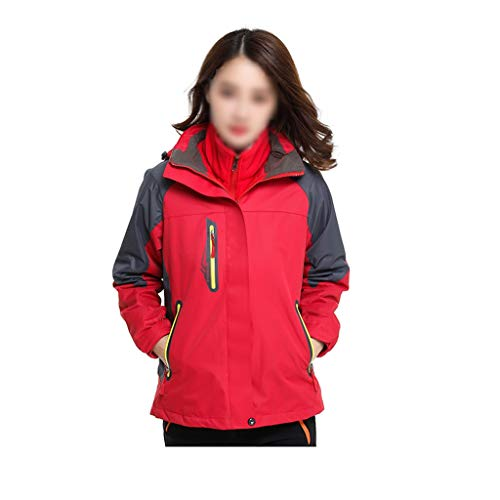 NYKK Womens Jacket -Water Resistant Rain Jacket, Adjustable Hood Ladies Winter Hiking Mountain Jacket - Ideal Womens Coat for Walking (Color : Red, Size : M)