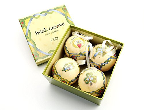 Royal Tara Irish Christmas Ornaments - Globe Baubles - Boxed Set of 4