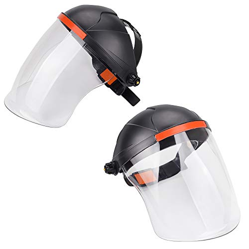 Venseri Face Shield Pack of 2 Full Face Grinding Shield, Flip Front Shade 5 UV/IR Face Shield, Anti-Fog Window with Ratchet Headgear, Plasma Cutting/Grinding