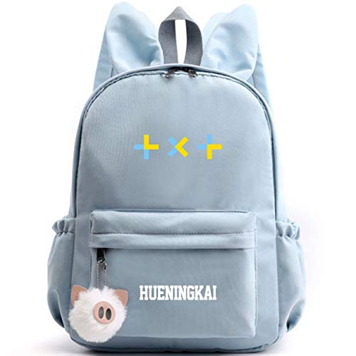 Kpop TXT Rucksack mit Hasenohren Student Daypack Schultasche Geschenkwaren Laptoptasche College School Bookbag Reise Schule Canvas Bags HUENINGKAI SOOBIN YEONJUN TAEHYUN BEOMGYU