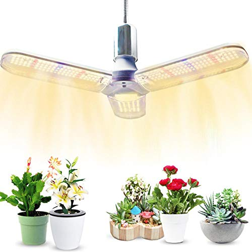 Everley Hutt Plant Growth Lamp Led PlantGrowth Lamp Three-leaf Collapsible Plant Fill Light Succulent Flowers and Vegetables Indoor