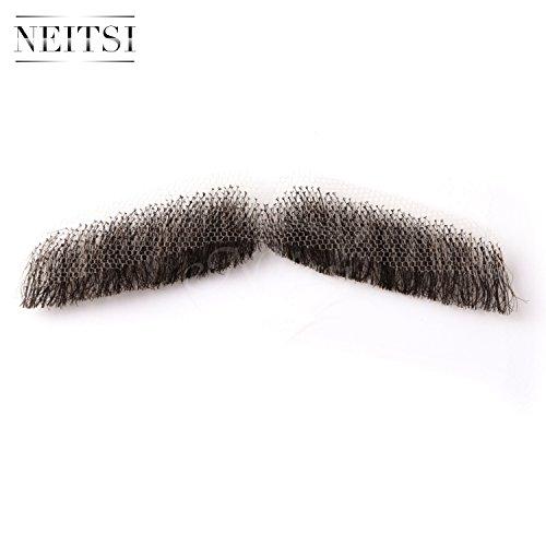 『Neitsi(ネイティス) 付け髭 ひげ 口髭 人毛 ウィッグ 髪製髭 手作り本物 コスプレ用ダンス用髭 1枚』の3枚目の画像