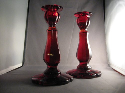 Thick Tall Ruby Red Glass Candle Stick Pair Ohio Made