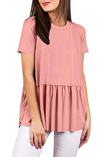 Peplum Women Flowy Pleated Cotton T Shirt Swing Solid Color Short Sleeve Blouse Loose Summer Tunic Top Light Pink XL