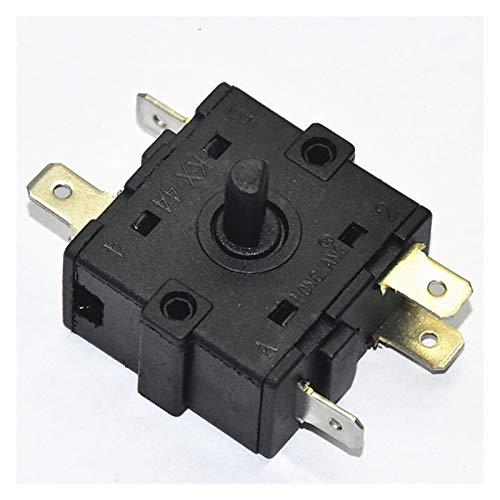 Interruptor giratorio Calentador de habitación eléctrica 3 Posición 2 Posición 3 Pin 5pin Switch Switch Selector AC 250 V 16A Interruptor de cambio Selector giratorio ( Color : 5 Pin 3Position )