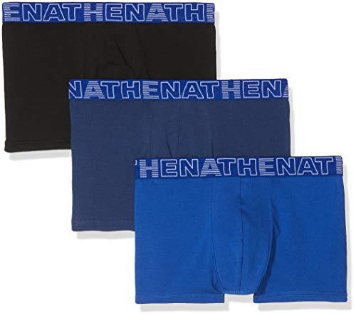 ATHENA Basic Color Boxer, Multicolore (Noir Marine Bleu 1910), Large (Taille Fabricant:4) (Lot de 3) Homme