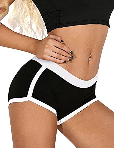 Akalnny Short Deportivo Mujer Pantalones Cortos Cintura Elástica De Cintura Alta Verano Chandal De Yoga Trotar Correr Bailando Ciclismo Gimnasio Negro XL