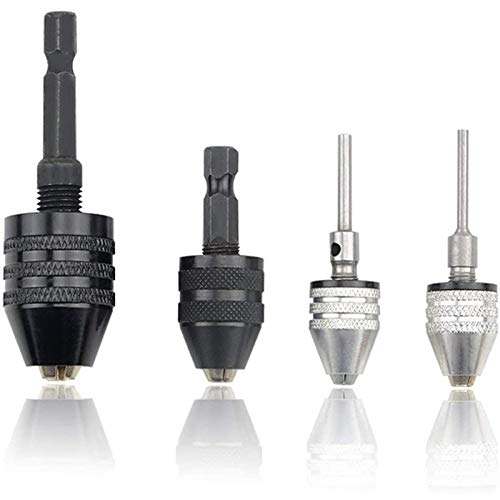 4PCS Drill Chuck Quick Change Adapter Miniskirt 3-Jaw Drill Chuck Screwdriver Adapter Galvanizing Drill Conversion Chuck Set Tools