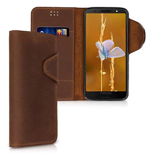 kalibri Hülle kompatibel mit Motorola Moto G6 - Leder Handyhülle - Handy Wallet Hülle Cover in Braun