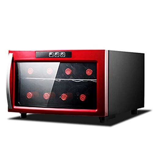 SADWQ Enfriador de Vino de 8 Botellas Termostato Electronico Pequeño Hogar Refrigerado por Aire Vino Refrigerado y Vino Tinto Refrigerador Silencioso Compresor de Funcionamiento