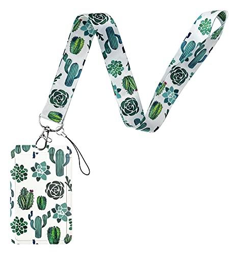 Geiomoo Cordón con Portatarjeta, Cuello Cuerda con Porta Credencial para Llaves, Tarjetas de Identificación, Oficina (Cactus)