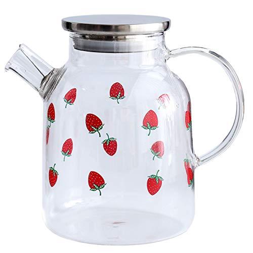 QAX Jarra de agua de vidrio resistente al calor de borosilicato, con colador extraíble, para té floreciente y té de hojas sueltas, 1600 ml