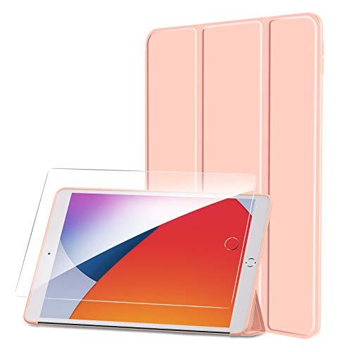SmartDevil Custodia per iPad 10.2 2019 2020 + Vetro Temperato, Leggero e Sottile Custodia per iPad 8 Generazione Custodia per iPad 7 Generazione con Auto Sveglia Sonno, Smart Cover per iPad 10.2 Rosa
