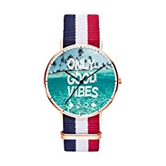 SunbirdsEast Only Good Vibes Watch Nylon Band for Men 40mm. The core of dial plate adopts imported materials with the high cost and exquisite workmanship,so it served a good dynamic support to the watch. The mirror surface adopts the drilling surface...