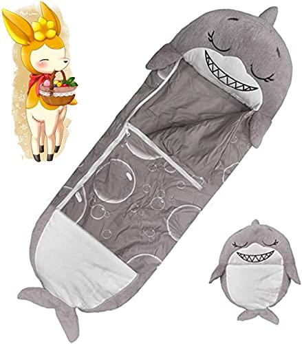 Lustige Schlafsäcke für Kinder,2-in-1 Tierschlafsack,faltbares Spielkissen,Schlafsack,weich,bequem,warm,Schlafsack,Kissen für Outdoor,Camping,Rucksackreisen,Wandern,Reisen(grauer Hai,155 x 50 cm)